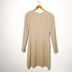 Vintage Armani Tan Sheath Long Sleeve MIDI Dress